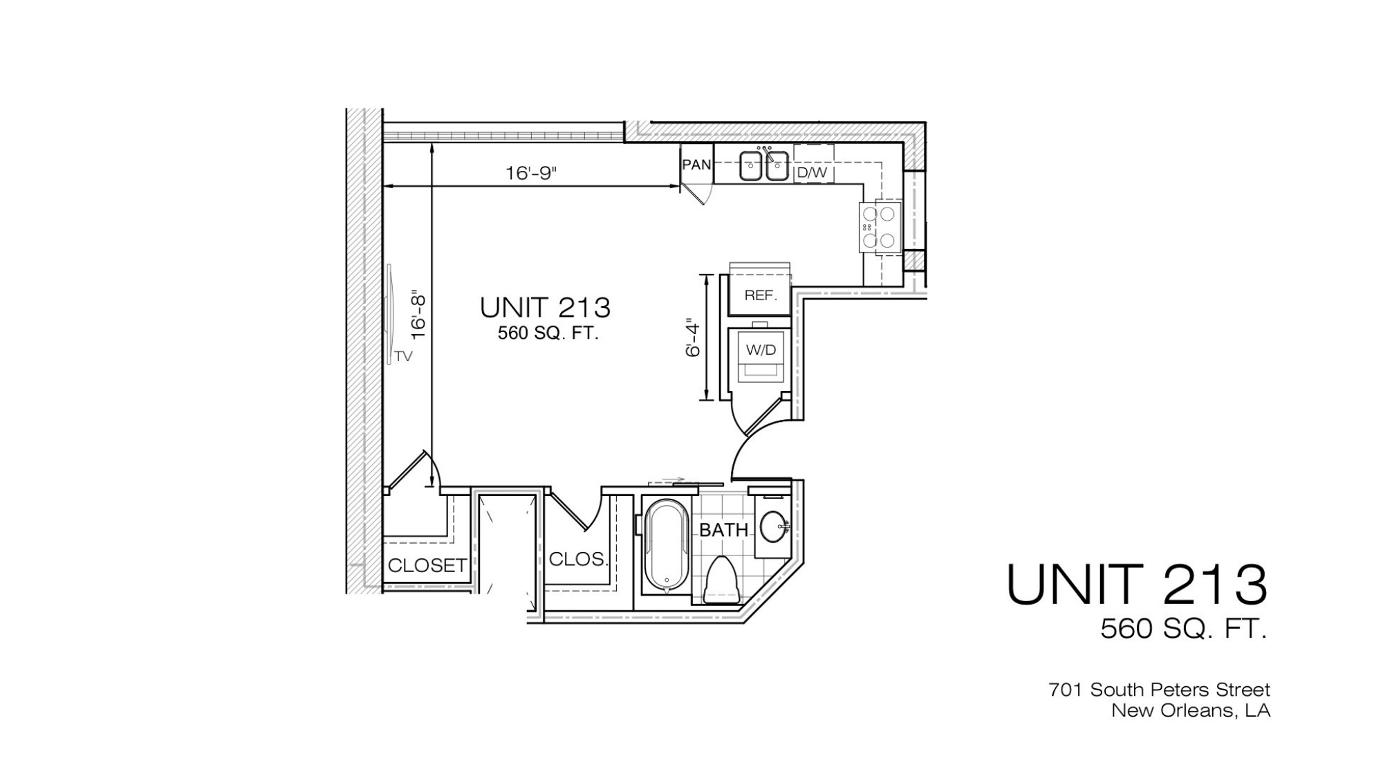 701 S. Peters Refinery Unit 213 Floor Plan